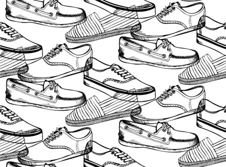 Seamless pattern with flat icons of mens shoes. 일러스트