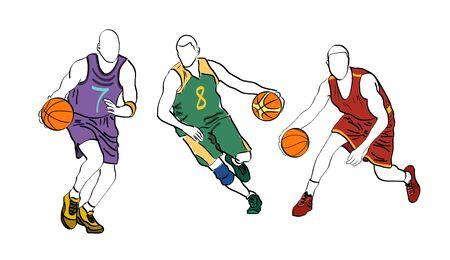 Set of basketball players.