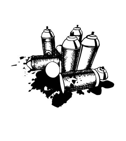 Sketch of the cans for graffiti. vector illustration