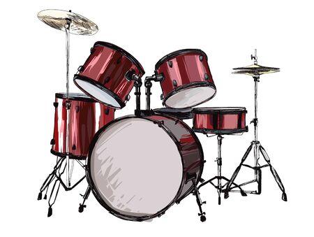 Drum kit on white background Vetores