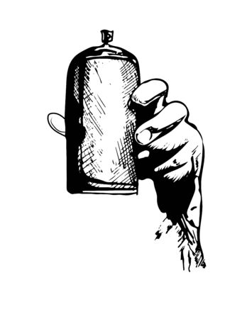 Sketch of the spray for graffiti with a hand. vector illustration