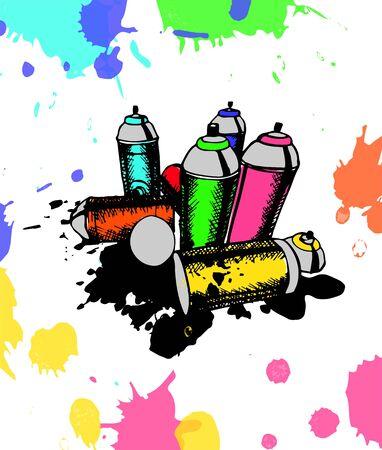 Skizze der Dosen für Graffiti. Vektor-Illustration