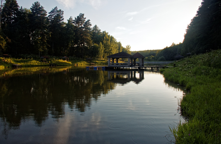 the pond on a summer evening in the countryside, Russia Stock Photo
