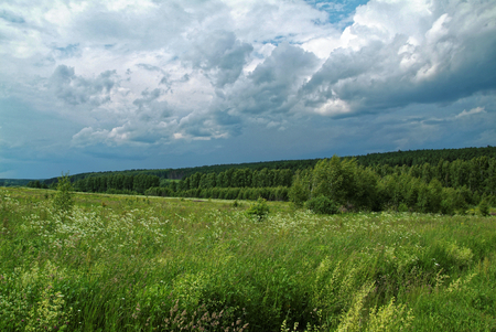 stormy sky in the summer in rural