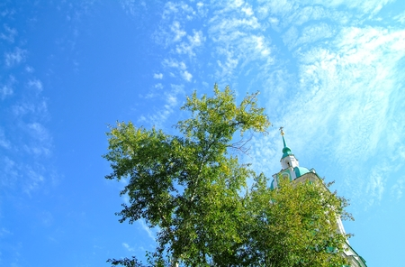 bell tower of the Orthodox Church in Moscow in summer