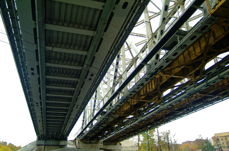 railway bridge against the cloudy sky, Moscow 스톡 콘텐츠