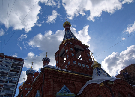 Orthodox Church against the sky in winter, Moscow