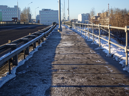 in the industrial area in winter, Moscow 스톡 콘텐츠