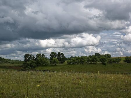 landscape of Central Russia on a cloudy day, summer
