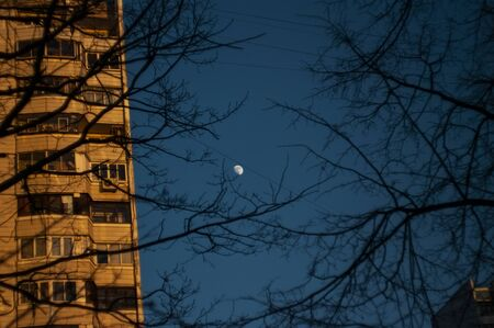 moon in the evening against a clear sky, Moscow