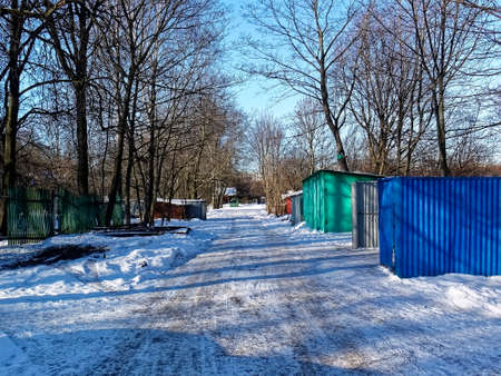 a small village on the outskirts of the city in winter, Moscow
