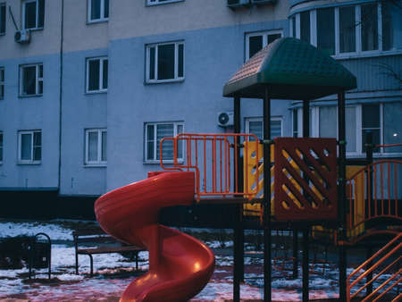 playground in the spring early morning, Moscow 写真素材