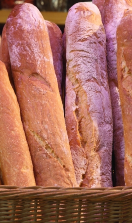 French Baguette in a basket photo