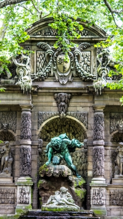 fontaine: Paris � The Fontaine des Medicis in the Luxembourg Garden Stock Photo