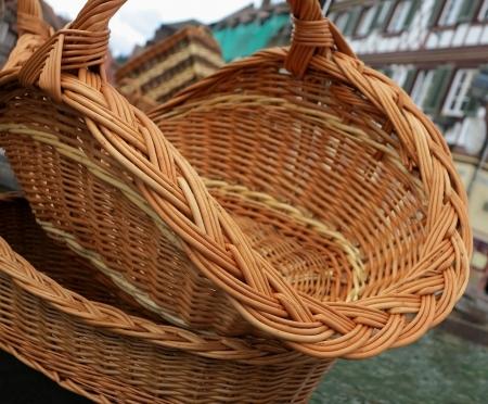 Empty wicker baskets photo