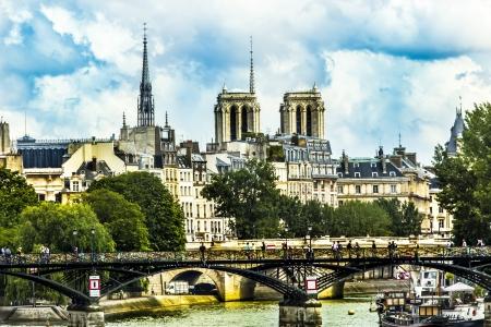 Paris love bridge in front of Notre Dame