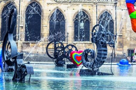 Paris, fountain at Centre Pompidou, National Modern Art Museum Stok Fotoğraf