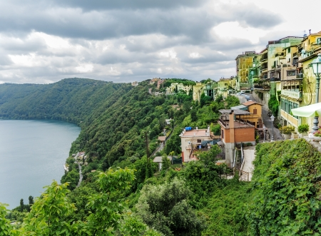 View of Castel Gandolfo and Albano Lake Stok Fotoğraf