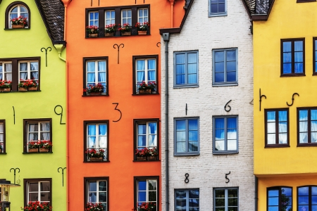 Colorful houses in Cologne on the Rhine, Germany