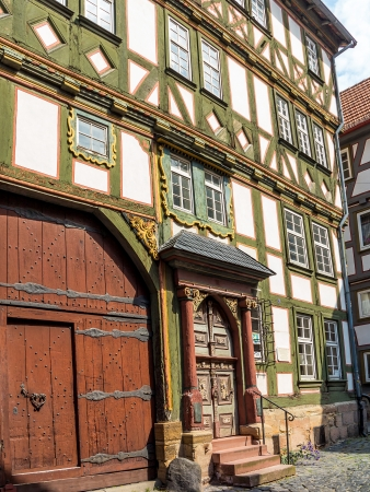Timber framed house with renaissance gate in Alsfeld, medieval historical town, Germany photo