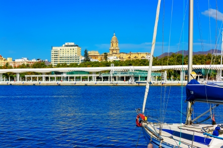 Harbor of Malaga with view of the old town, Costa del Sol, Southern Andalusia, Spain Stock Photo