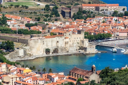 port vendres: Collioure, Chateau Royal and Eglise Notre Dame des Anges in Northern Catalonia, France