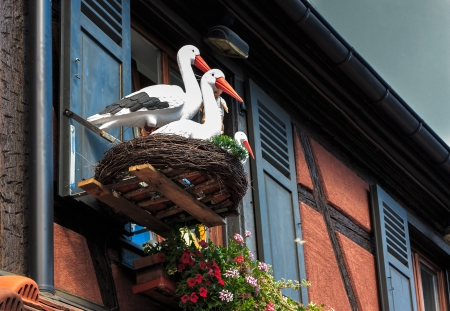 House decoration with white storks in nest photo