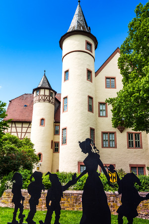seven dwarfs: Snow White castle in Lohr am Main in the Spessart Mountains, Bavaria, Germany