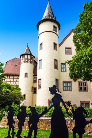 seven dwarfs: Snow White castle in Lohr am Main in the Spessart Mountains, Bavaria, Germany