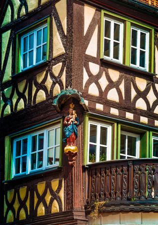 half timbered house: Half timbered house in Lohr am Main in Spessart Mountains, Germany