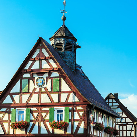 earlier: Colorful half-timbered house, an earlier City Hall in a german village