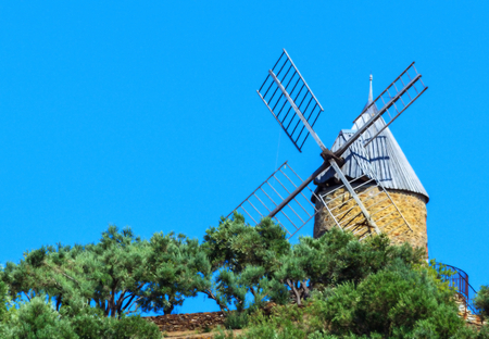 port vendres: Historic mill in the Bay of Collioure, Northern Catalonia, Southern France