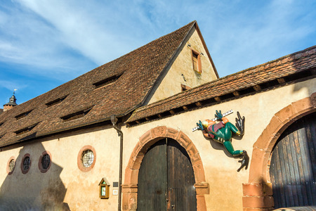 princely: Princely stables with frog sculpture, Castle Buedingen, Germany