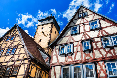 hesse: Half-timbered houses in Lohr am Main in the Spessart Mountains, Bavaria, Germany
