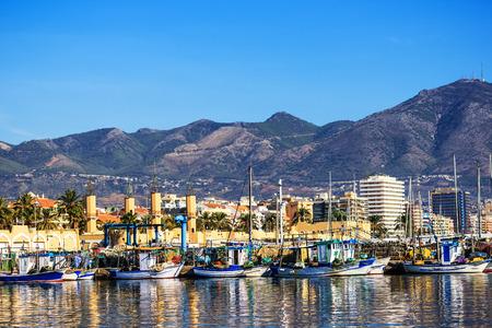 Fishing harbor of Fuengirola, near Malaga holiday resort, Costa del Sol, Andalusia, Southern Spain Editoriali