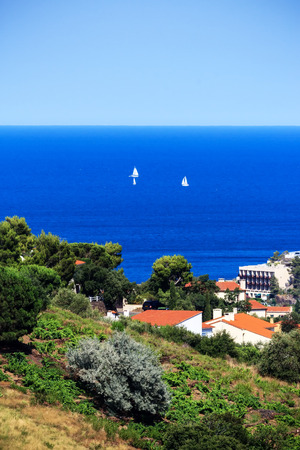 port vendres: View of the bay of Collioure, Southern France Stock Photo
