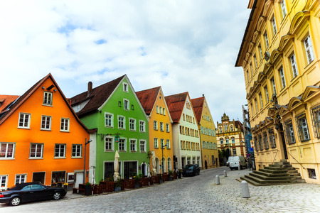A row of colorful houses in Ellwangen, Germany Editoriali
