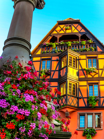 Picturesque half-timbered house on the market square in Obernai, Alsace, France