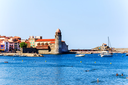 port vendres: The bay of Collioure with fortified church of Notre-Dame des Anges, Southern France