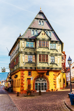 half timbered: MILTENBERG-GERMANY-MARCH 08, 2015: The Hotel Zum Riesen (one of Germany \\\\ \\ \ s oldest inns), built in 1590 in Miltenberg, Bavaria