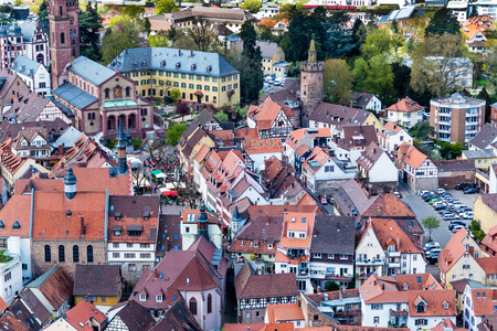 townhomes: Panoramic view of the city of Weinheim from the Burg Windeck, Germany