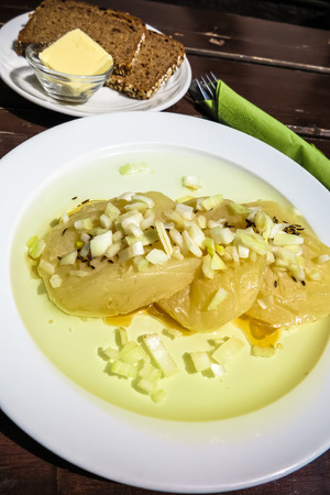 musik: Typical german cheese dish Frankfurt area-The Handkaese mit Musik (sliced cheese with onion and vinegar sauce)