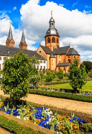 river main: Convent Garden and Basilica in Seligenstadt Historic Town on the Banks of the River Main Germany