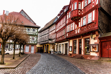 river main: Medieval halftimbered Littlestown Miltenberg by the Odenwald forest and the river Main Germany Stock Photo