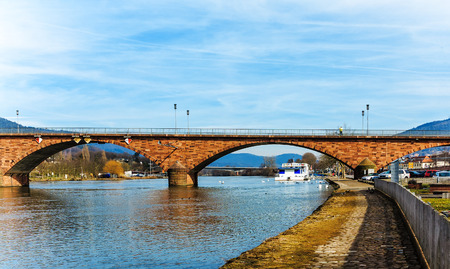 river main: The bridge over the River Main in historic Miltenberg by the Odenwald forest Germany
