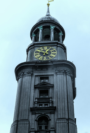 landfall: St. Michaelis Church in Hamburg Germany baroque spire has always been a landfall mark for ships sailing up the river Elbe