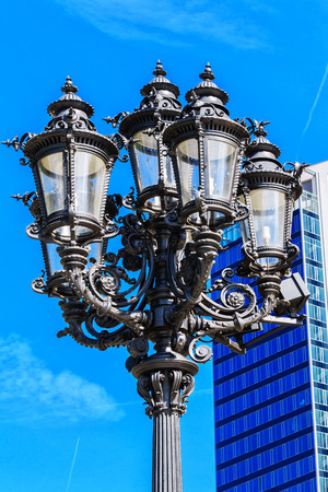 oper: Old fashioned lantern in front of the Alte Oper in Frankfurt am Main Germany Stock Photo