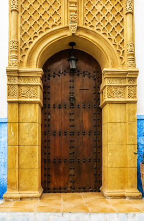 reside: Ancient Moroccan art craftsmanship - Brown Door with nail ornament