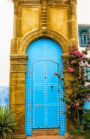 types of cactus: Ancient Moroccan art craftsmanship - Blue Door with nail ornament
