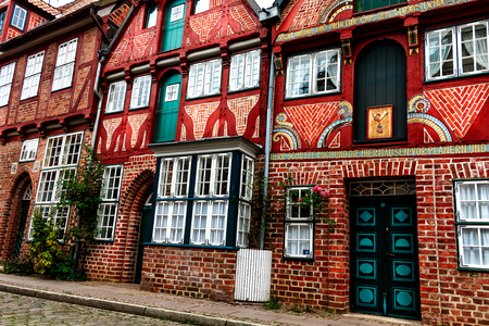 Picturesque historic buildings in Old Town of Lueneburg, Lower Saxony, Germany